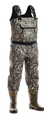 Foxelli Neoprene Fishing Waders – Camo Chest Waders for Men with Boots